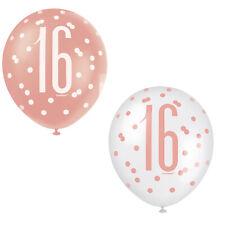 6 X 16th Anniversaire Rose Doré & Blanc Latex Ballon Décorations Âge 16