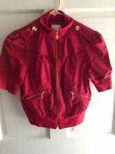 GUESS Women's Red Short Sleeve Gold zipper Jacket        D
