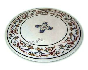 Marble Coffee Table Top Hand Inlaid Hall Table with Elegant Pattern 21 Inches