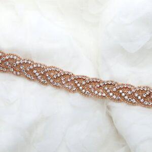 1 Yd Rose Gold Vintage Diamante Rhinestone Crystal Beaded Bridal Belt Applique