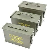 NATO 50Cal Ammo Box Army Storage Ammunition Surplus Issue Tin Tool Metal 3 Sizes