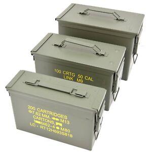 NATO 50Cal Ammo Box Army Storage Ammunition Surplus Issue Tin Tool Metal 3 Sizes