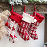 Personalised Embroidered Christmas Stocking Traditional Nordic Knit Red Silver