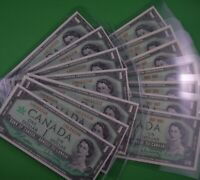 14 - Uncirculated - 1967   $1.00  Canadian Banknotes  7  1867-1967 & 7 Serial #s
