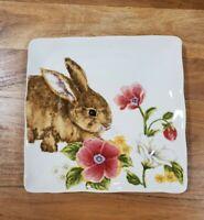 NEW (4) Maxcera Spring Floral Easter Bunny Rabbit Salad Plates Home Decor