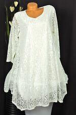 Schöne Spitzen  Long-Tunika   Kleidchen   Hängerchen  Weiß  Gr:40,42,44