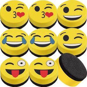 2 x Emoji Whiteboard Eraser Magnetic Dry Eraser, Smiley for Classroom, Office...