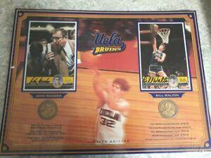"JOHN WOODEN & BILL WALTON DUAL SIGNED UCLA 16""X 12"" DISPLAY WITH COINS W/COA"