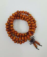 Sandalwood 108 Prayer Bead Mala Bracelet Necklace Buddhist Meditation 6mm Gold
