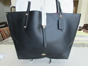 Coach 58849 Market Tote Black Leather Red Inside 04018727