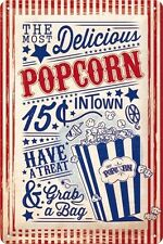 Popcorn Retro Shabby Chic Home Cinema Film Diner Medium 3D Metal Embossed Sign