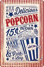 Popcorn Retro Shabby Chic Home Cinema Film Diner Medium 3D Metal Embossed Sign