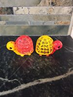 ** Vintage Orange And Yellow Turtles Salt and Pepper Shaker Set Made In Japan.