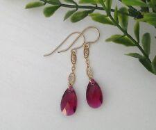 Dark Fuchsia Purple Swarovski Teardrop Long Oval 14K Gold Filled Dangle Earrings