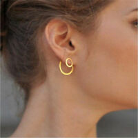 Women Simple Gold Double Circle Round Ear Studs Earrings Minimalist Jewelry Gift