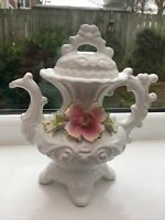 Vintage Ornamental Ceramic Tea Pot Made In Italy. Floral. Embossed