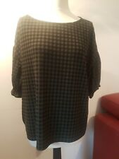 M&S PLUS CURVE 18 GREEN CHECK JERSEY TOP FRILL CAP SLEEVES CUTE COMFY STRETCH