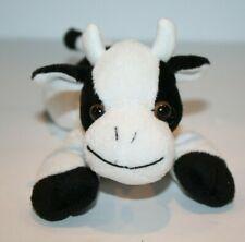 "Unipak COW 7"" Mini Black White Plush Soft Toy Bean Bag Stuffed Farm Animal 2010"