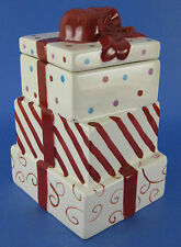 Ceramic Cookie Jar Christmas Presents Gifts Red Ribbon Bow