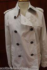 Burberry London White Raincoat Trench Coat Double Breasted Jacket US 8 UK 10 M