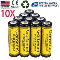 10PCS 14500 3.7V 1200mAH Rechargeable BRC Lithium Li-ion Battery  For Flashlight