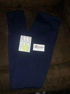 Lularoe Leggings OS Solid Navy Blue NEW PRINT Rare Beautiful NWT One Size
