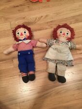 """Vintage Pair of Raggedy Ann and Andy Knickerbocker 16"""" I Love You Dolls"""
