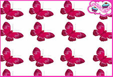 24 x PINK SHADED BUTTERFLY EDIBLE CUPCAKE TOPPER RICE WAFER PAPER B16