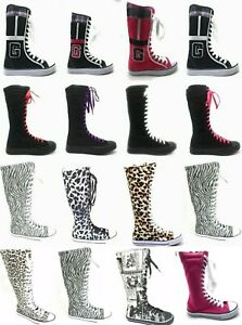 Womens Canvas Sneaker Punk Flat Tall Lace Mid Knee High Boot Skater Shoe Sz 5-10