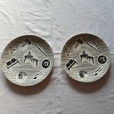 Vintage Retro Homemaker Plates Ridgway 20 cm X 2 Black & White MCM