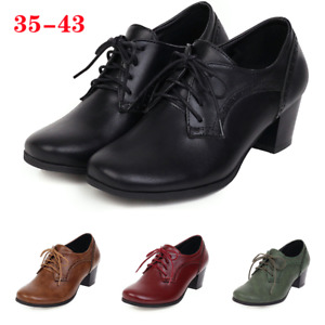 Women Vintage Block Mid Heels Lace Up Wingtip Round Toe Oxford Brogue Shoes Size
