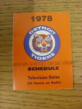 1978 Fixture Card: Baseball - Detroit Tigers (fold out style) (stamped: Dearborn