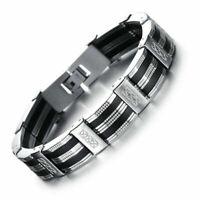 Neu Armband Edelstahl Kürzbar Herren Luxus Armreif Armkette Schwarz Silber 21cm
