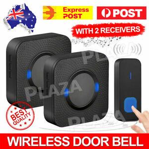 Wireless Door Bell Chime Waterproof Doorbell 2 Plugin Receivers 300M Long Range
