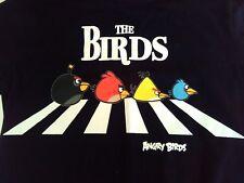 Mens Angry Birds t-shirt, Black, M, The Beatles Walk Theme, Cotton