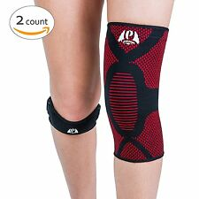 Perpetuum Sports Bundle: 1 Knee Compression Sleeve Support &1 Knee Patella Strap
