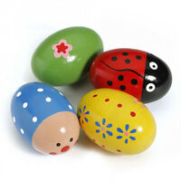 Egg Wooden Baby Child Toys Music Shaker Instrument Rattle Gift Colorful Maracas
