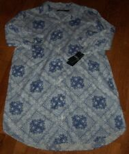 NWT Ralph Lauren Blue/Ivory FLORAL BANDANNA Sleep Shirt Nightgown Gown 1X $66