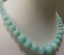"6-14mm Natural Blue Brazilian Aquamarine Gems Round Beads Necklace 18"""