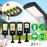 Outdoor Solar Street Wall Light PIR Sensor Motion LED Lamp Remote Control 3Modes