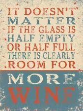 VETRO È metà VUOTO O metà PIENO, CAMERA PER vino. misura media metallo/