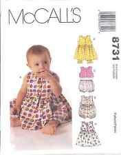 8731 UNCUT Vintage McCalls SEWING Pattern Infant Baby Dress Romper Top Panties