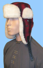 NEW MENS RED-BLACK PLAID&GENUINE SHEARLING FUR AVIATOR HAT- 23.5 inch-Wool Blend