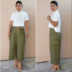 S8889 Sewing Pattern Mimi G Style Cute Cargo Wide Leg Pants Top Shirt Sizes 6-14