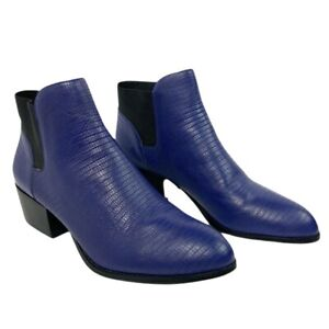 NEW House Harlow 1960 Warner Chelsea Booties Blue Womens Size 38.5 Leather Boots