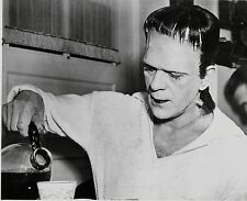 RARE STILL BORIS KARLOFF AS FRANKENSTEIN  ON SET MAKING COFFEE