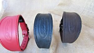 Greyhound collar, leather, embossed with padded lining,various colours.
