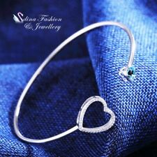 925 Sterling Silver Made With Swarovski Crystal Slim Beauty Heart Cuff Bangle