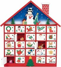 Premier Decorations 40cm Wooden Advent Calendar House With 24 Opening Doors