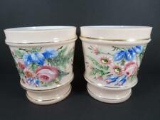 Antique Victorian Czech Pink Cased Glass Floral Decorated Vase Pair (#48-6)